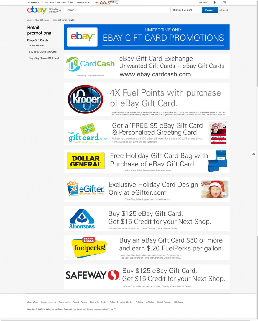 Retail Ebay Gift Card Promotions 15 Off At Safeway For Buying 125 Gc Dem Flyers